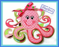 Item 215 Octopus Girl Machine Appliqué Embroidery by AFancyStitch, $4.00