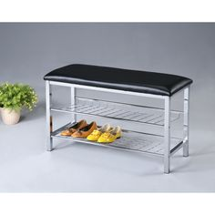 Metal Shoe Bench with Faux Leather Seat, Chrome and Black #Unbranded