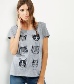 Grey Cat Face Print T-Shirt | New Look