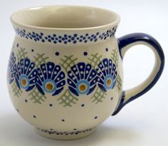 Polish Pottery - Large Belly Mug - Peacock's Pride | The Polish Pottery Outlet