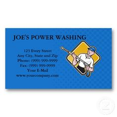 Pressure washing business card design template logo illustration power washing pressure water blaster worker business card template accmission Image collections