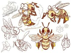 """dramatical-fangirl: """"ourwitching: """" geekybibliophile: """" celesse: """" I DREW BEES """" """" """" """" Animal Sketches, Animal Drawings, Cute Drawings, Art Sketches, Bee Sketch, Bee Drawing, Bee Painting, Bee Illustration, Desenho Tattoo"""