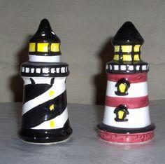 Ceramic Lighthouse Salt Pepper Shaker Nautical Set