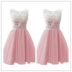 Pink Homecoming Dress/Lace Homecoming Gowns/Pink Sweet 16 Dress Homecoming Dress #H003