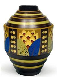 Vase de forme géométrique rare à décor polychrome de motifs végétaux stylisés by Jan Wind by Charles Catteau