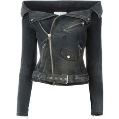 Faith Connexion Off-Shoulder Denim Biker Jacket (1,470 CAD) ❤ liked on Polyvore featuring outerwear, jackets, black, faith connexion, denim motorcycle jacket, denim jacket, rider jacket and denim biker jacket