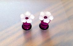 0G Pink Camellia Flower Plugs with Swarovski by PerfectionPetals, $20.50