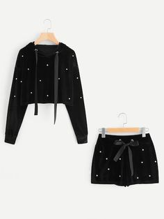 SheIn offers Pearl Beading Velvet Hoodie & Shorts Set & more to fit your fashionable needs. Cute Lazy Outfits, Teenage Outfits, Outfits For Teens, Stylish Outfits, Cool Outfits, Summer Outfits, Pajama Outfits, Crop Top Outfits, Girls Fashion Clothes