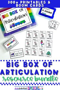 Are you looking for the perfect no prep/digital resource for Speech Therapy Articulation activities? The Big Box of Articulation is packed full of articulation activities for your speech therapy students! These resources include activities for the cycles approach and traditional approach to articulation. Resources include auditory bombardment activities, speech task boxes, and speech parent communication handouts. These are perfect inclusion activities for students! #speechtherapy #articulation
