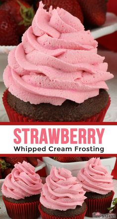 Strawberry Whipped Cream Frosting - Two Sisters - - A light and airy frosting infused with the perfect amount of strawberry flavor. This homemade Strawberry Whipped Cream Frosting lasts for days and holds its shape like buttercream. Flavored Whipped Cream, Sweet Whipped Cream, Whipped Cream Icing, Homemade Whipped Cream, Whipped Topping, Strawberry Frosting Recipes, Cupcake Recipes, Baking Recipes, Dessert Recipes