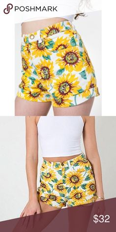 American Apparel sunflower shorts Great condition high waisted denim shorts from AA. Classic print that brings back serious 90s vibes 🌻 marked size 26/27 American Apparel Shorts Jean Shorts