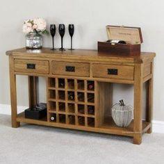 sofa table with wine storage. Rustic Oak Buffet With Wine Rack Sofa Table Storage T