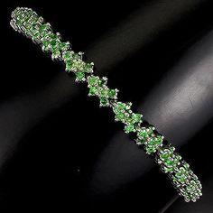 Silver 925 Genuine Natural Diamond Cut Tsavorite Garnet Bracelet 7 Inch