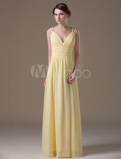 Princess Silhouette Yellow Chiffon Maternity Bridesmaid Dress with V-Neck  Empire Waist  Chiffon fe06f4f648ed