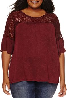 A.N.A a.n.a Elbow Sleeve Round Neck Knit Blouse-Plus