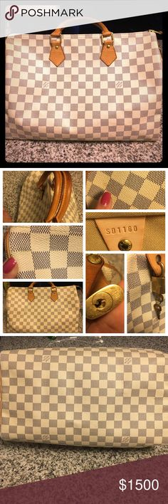 White Damier Speedy 35 Preloved White speedy 35 with lock key and dustbag. Few marks as shown in overall like new condition. Louis Vuitton Bags Totes