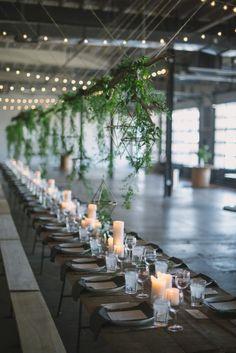 Industrial dinner party inspiration: http://www.stylemepretty.com/living/2015/07/23/industrial-summer-dinner-party/ | Video: Mornings Like These - http://www.morningslikethese.com/