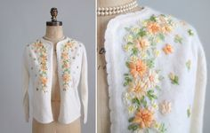 1960s Ribbon Embroidered Cardigan