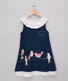 Navy Birds on a Wire Corduroy Dress - Toddler & Girls #zulily #zulilyfinds