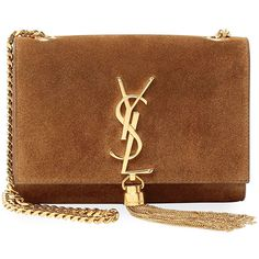 Saint Laurent Monogram Small Suede Tassel Crossbody Bag ($2,000) ❤ liked on Polyvore featuring bags, handbags, clutches, bolsas, borse, camel, crossbody purse, suede purse, brown handbags and fringe crossbody purse