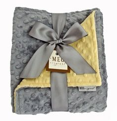 Meg Original Yellow & Gray Minky Blanket