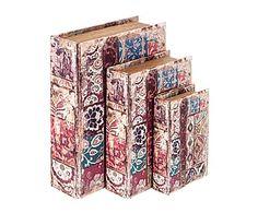 Set de 3 cajas libro en madera DM I
