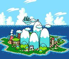 suppermariobroth:  The Mode 7 rotating Yoshi's Island and Koopa Kingdom from the Yoshi's Island title screen.