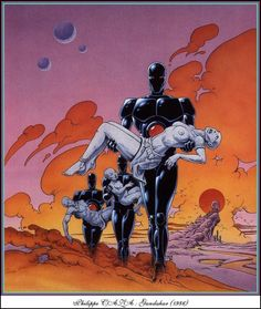 Art by Philippe Caza for Gandahar. Arte Sci Fi, Sci Fi Art, Art Et Illustration, Illustrations, Cyberpunk, Sci Fi Kunst, Science Fiction Kunst, Ligne Claire, Alternative Art