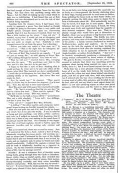 """The Theatre » 27 Sep 1929 » The Spectator Archive. Review of """" Veronica.""""  """"The secret of Veronica comes out when we reach her sober little flat, and discover that she is supporting the vaguest Of artists, who doesn't in the least care where she gets the money so long as he can go on painting without worrying about it. He stumbles in, perpetually dazed, and his face and figure are made exquisitely comic by Mr. Ernest Thesiger, who, however, adds another touch ,of exaggeration to the…"""