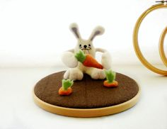 Mr Greedy Bunny  Needle Felted Sculpture by RebeccasEmporium, £41.27