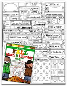 Teach addition, subtraction, sight words, phonics, grammar, handwriting and so much more with the Fall NO PREP Packet for First Grade!