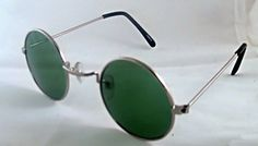 Dark Green Round Retro Sunglasses Silver Frame