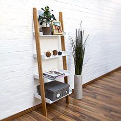 Relaxdays-Leiterregal-Bamboo-H-x-B-x-T-144-x-56-x-34-cm-Regal-aus-Bambus-mit-4-praktischen-Ablagen-aus-Holz-als-dekoratives-Wandlehnregal-fr-das-Arbeitszimmer-und-Wohnzimmer-als-Standregal-wei