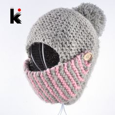 2017 winter russia balaclava bomber woman hat hand-knitted cap face mask hats for woman