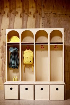 New wardrobe! Arches, drawers so kids easy can manage their clothes, and geometric shapes for learning mathematical basics. House Drawing, Scandinavian Design, Geometric Shapes, Entryway, Holiday Decor, Kids, Inspiration, Furniture, Arches