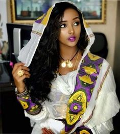 Stunning, FRYAT YEMANE❤️ She is very elegant in a traditional Habesha dress. 👗💍👠💍 What do you think will be the perfect wedding gown for her? 👇👇👇 Let's see if wee all have same thoughts. Beautiful Ethiopian Women, Ethiopian Beauty, Beautiful Black Women, Beautiful Body, Ethiopian Wedding Dress, Ethiopian Dress, African Beauty, African Women, African Fashion