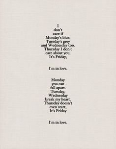 lyrics from 'Friday, I'm In Love' by The Cure