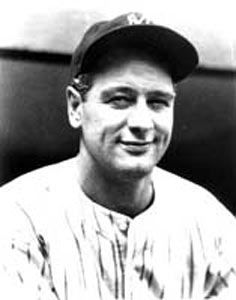 New York Yankees slugger Lou Gehrig