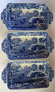 Vintage Copeland Spode Italian Pattern Blue and White Shallow Dishes x 3