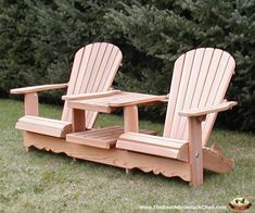 Providing the intimate setting for two, our Double Adirondack Chairs will add unique and comfortable style to your outdoor space. Order your Double Royal Adirondack Chair today! Adirondack Chair Plans, Adirondack Chair Cushions, Wooden Adirondack Chairs, Adirondack Furniture, Deck Chairs, Garden Chairs, Outdoor Chairs, Rustic Chair, Rustic Furniture