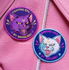 You messed with the wrong kitties. Embroidered patches of Luna and Artemis from Sailor Moon. Fighting evil by moonlight, Winning love by daylight Cute Patches, Pin And Patches, Iron On Patches, Jacket Patches, Sailor Scouts, Luna Et Artemis, Coque Ipad, Embroidery Patches, Machine Embroidery