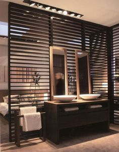 59 Marvelous Open Bathroom Concept For Master Bedrooms Decor Ideas - Page 55 of 56 Wooden Partitions, Wooden Room Dividers, Open Bathroom, Bathroom Modern, Sala Grande, Dressing Room Design, Cool Rooms, Bedroom Decor, House Design
