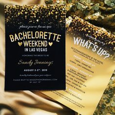 Sparkly Gold Black Vegas Bachelorette by SupermimiDesign on Etsy Perfect for a gold and black themed bachelorette party weekend! Vegas Bachelorette, Bachelorette Party Themes, Bachlorette Party, Bachelorette Party Invitations, Gold Invitations, Invitation Ideas, Always A Bridesmaid, Friend Wedding, Party Planning