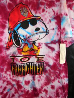 LG Snoopy Firefighter shirt Tie Dye Tee for Adults, Men, Unisex, Ladies Womens Top Shirt Maroon Blue Burgundy Red White fireman Fire man on Etsy, $17.80