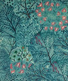 "Ray cotton velvet in velvet lagoon furnishing fabric.  From liberty.co.uk: ""Ray was first created for our fashion fabric collection from a wonderful painting by illustrator Jane Ray, commissioned by Liberty and based on the fairytale, Rose Red and Snow White."""