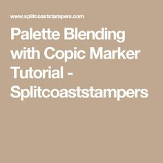 Palette Blending with Copic Marker Tutorial - Splitcoaststampers