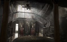 View an image titled 'Foyer Art' in our Resident Evil Biohazard art gallery featuring official character designs, concept art, and promo pictures. Resident Evil Vii, Resident Evil 7 Biohazard, Artwork Lighting, Evil Games, Zombie Art, Welcome To The Family, Environmental Art, Video Game Art, Abandoned Houses