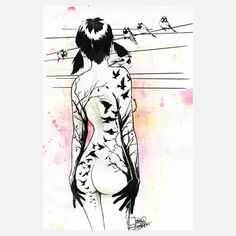 Tattoo Girl Large Art Block, $99, now featured on Fab. [Lora Zombie, Eyes On Walls]