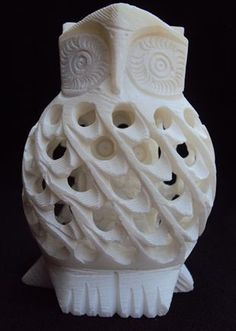 White Owl Soapstone Carving Sculpture Soap Sculpture, Sculptures, Soapstone Carving, Art Tips, Owls, Gemstones, Fun Things, Artsy, Owl
