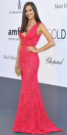 Irina Shayk in Elie Saab S/S 2013 collection at the amFAR 20th Annual Cinema Against AIDS gala, May 2013